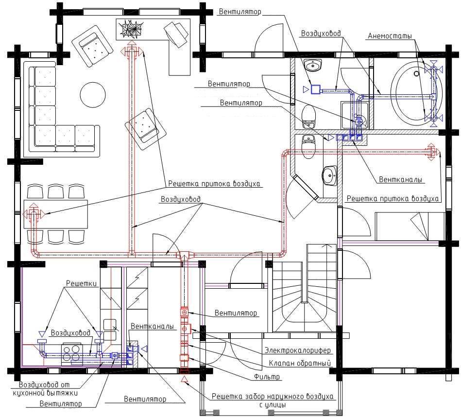 Расчет схемы монтажа по вентиляции